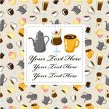 кофе шаржа карточки Стоковые Изображения RF