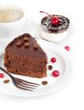 кофе шоколада торта Стоковые Фото