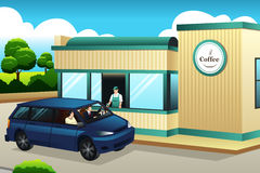 Кофе людей покупая на Привод-через кофейню иллюстрация вектора