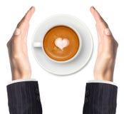 Кофе Latte при руки символа и женщины сердца изолированные на белизне Стоковая Фотография RF