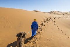 Кочевник с верблюдом в пустыне Сахары стоковое изображение rf