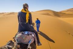 Кочевник Berber и девушка на верблюде в пустыне Сахары стоковое фото rf