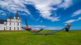 Кочевнические валуны, скульптура Джон O'Groats, Шотландия стоковые изображения rf