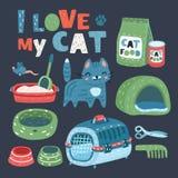 Кошачья еда, вещь и игрушки бесплатная иллюстрация