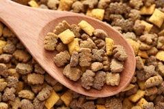 Кошачья еда в деревянной ложке Стоковая Фотография RF