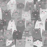 Кошки Безшовная картина в стиле doodle и шаржа серо иллюстрация штока