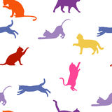 Кошки безшовная предпосылка младенца с котами цвета иллюстрация вектора
