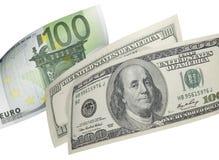 100 коллажей евро и долларовой банкноты изолированных на белизне Стоковое фото RF
