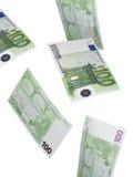 100 коллажей счета евро изолированных на белизне Стоковая Фотография