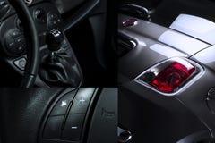 Коллаж автомобиля внутренний и внешний Стоковые Фотографии RF