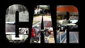 Коллаж автомобиля на черноте акции видеоматериалы