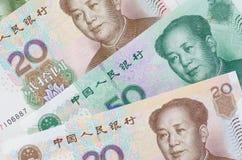 Коллаж банкнот или юаней Rmb китайца Стоковое Изображение