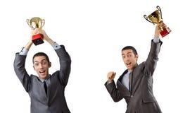 Коллаж бизнесмена получая награду Стоковые Фотографии RF