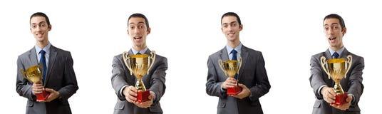 Коллаж бизнесмена получая награду Стоковое Изображение RF