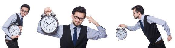 Коллаж бизнесмена с часами на белизне Стоковая Фотография