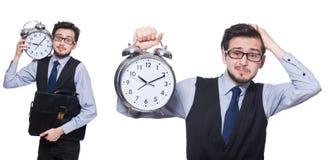 Коллаж бизнесмена с часами на белизне Стоковое Фото