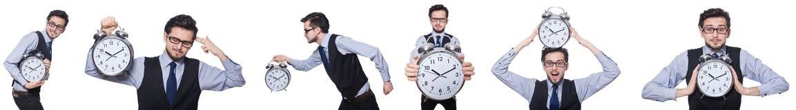 Коллаж бизнесмена с часами на белизне Стоковое Изображение RF