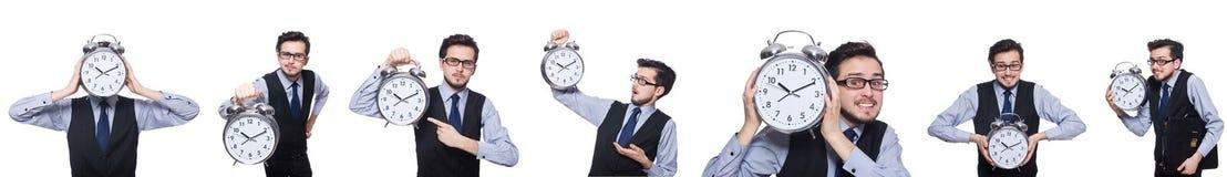 Коллаж бизнесмена с часами на белизне Стоковое фото RF
