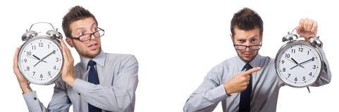 Коллаж бизнесмена с часами на белизне Стоковые Фотографии RF