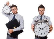 Коллаж бизнесмена с часами на белизне Стоковые Фото