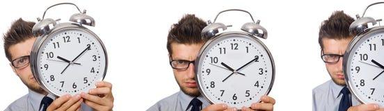 Коллаж бизнесмена с часами на белизне Стоковые Изображения