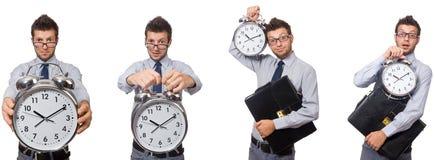 Коллаж бизнесмена с часами на белизне Стоковая Фотография RF
