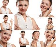 Коллаж бизнес-леди портретов при изолированный телефон стоковые изображения rf
