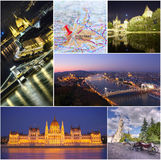Коллаж города Будапешта Стоковое фото RF