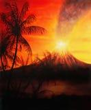 Коллаж графического дизайна с пальмами и вулканом на заднем плане в атмосфере захода солнца стоковые изображения rf