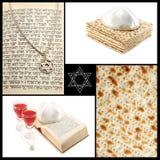 Коллаж еврейских атрибутов-Torah религиозного праздника, Звезда Давида Стоковые Изображения RF