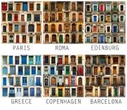 Коллаж европейских дверей с именами Стоковые Изображения RF