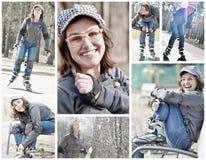 Коллаж девушки подростка кататься на коньках ролика Стоковые Изображения RF