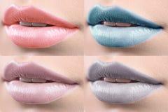 Коллаж женских губ предусматриванных в губной помаде Стоковое Изображение