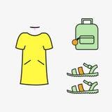 Коллаж женского вектора девушки одежды Стоковое Изображение