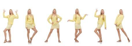 Коллаж женщины изолированный на белизне Стоковые Изображения RF
