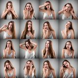 Коллаж женщины с различными выражениями лица Стоковые Изображения