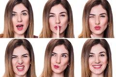 Коллаж женщины с различными выражениями Стоковое фото RF