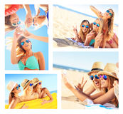 Коллаж женщин имея потеху на пляже Стоковые Изображения RF