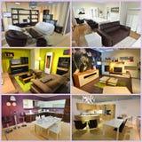 Коллаж живущей комнаты и столовой Стоковая Фотография