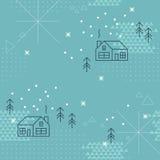 Коллаж зимы геометрический, безшовная картина Стоковое Изображение