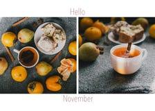 Коллаж здравствуйте!, в ноябре или в декабре с горячими чаем и плодоовощами Стоковые Изображения