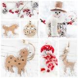 Коллаж игрушек рождества декоративных Стоковая Фотография RF