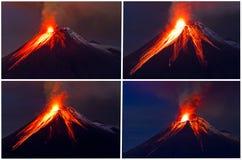 Коллаж извержения вулкана Tungurahua стоковое фото rf