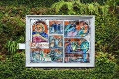 Коллаж изображений керамической плитки в ботаническом саде Monte Фуншала, Мадейры стоковое изображение rf
