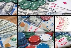 коллаж казино и играя в азартные игры деталей Стоковое фото RF