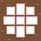 Коллаж картинных рамок на кирпичной стене Стоковые Фото
