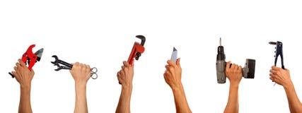 Коллаж комплекта инструментов деятельности белизна изолированная предпосылкой Стоковые Фото