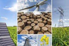 Коллаж концепции возобновляющих энергий Стоковое Изображение
