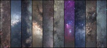 Коллаж космоса Коллаж астрономии Коллаж астрофотографии Вселенная стоковое изображение