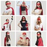 Коллаж костюмов супергероя уверенно людей нося стоковое изображение rf